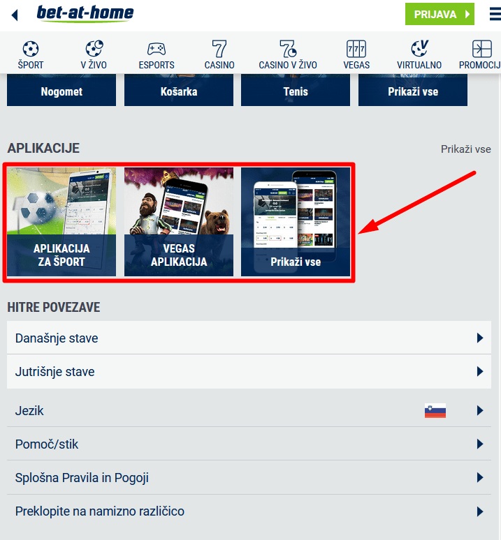prenos bet at home mobile